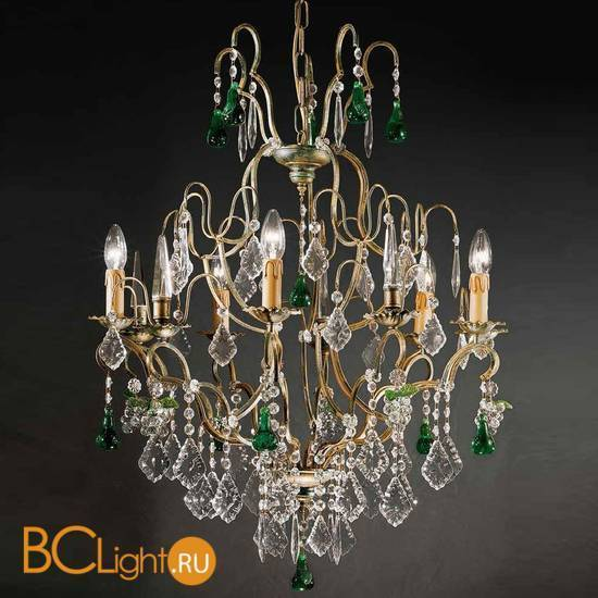 Люстра Beby Group Old style 3309/5 Green gold HALF CUT WITH GLASS FRUITS