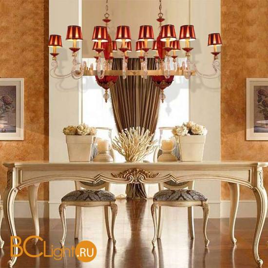 Люстра Euroluce Barocco Axis 14 gold Ruby Shade