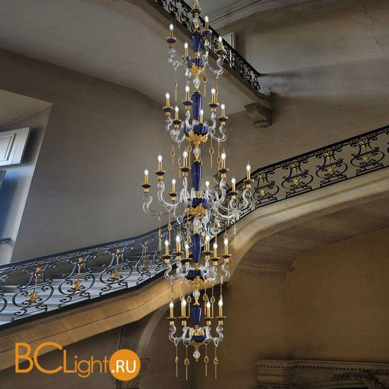 Люстра Euroluce Barocco L28 SUPERLUX SPECIAL EDITION gold Blue