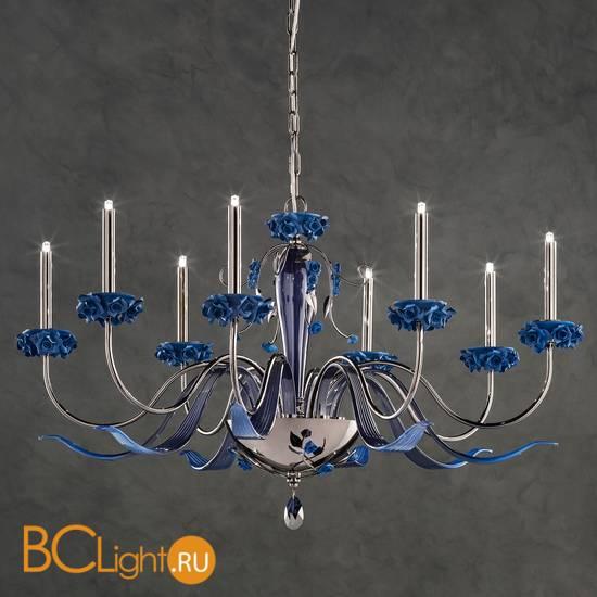 Люстра Euroluce Bora L8 Nichel Blue