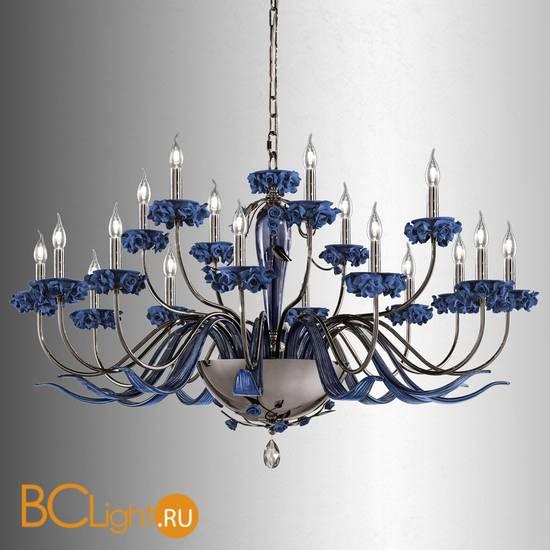 Люстра Euroluce Bora L12+6 Nichel Blue