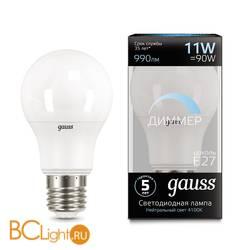 Лампа Gauss LED A60-dim E27 11W 990lm 4100К 102502211-D