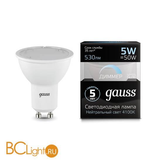 Лампа Gauss LED MR16 GU10-dim 5W 530lm 4100K 101506205-D