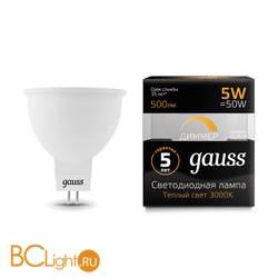 Лампа Gauss LED MR16 GU5.3-dim 5W 500lm 3000K 101505105-D