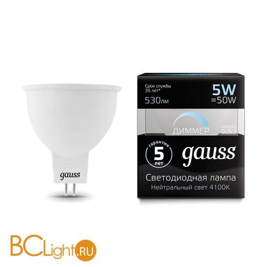 Лампа Gauss LED MR16 GU5.3-dim 5W 530lm 4100K 101505205-D