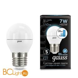 Лампа Gauss LED Шар E27 7W 550lm 4100K 105102207-S