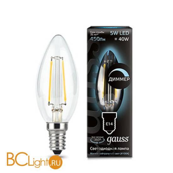 Лампа Gauss LED Filament Свеча dimmE14 5W 450lm 4100К 103801205-D