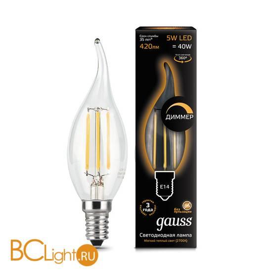 Лампа Gauss LED Filament Свеча на ветру dimm E14 5W 420lm 2700K 104801105-D