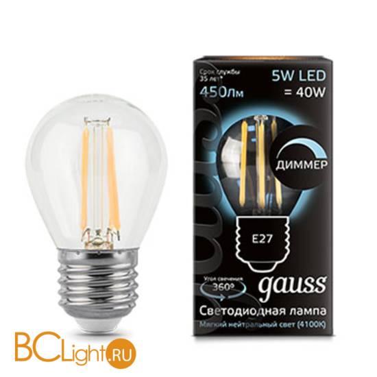 Лампа Gauss LED Filament Шар dimm E27 5W 450lm 4100K 105802205-D