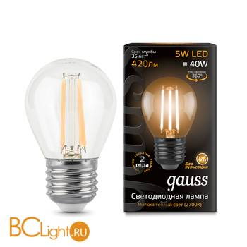 Лампа Gauss LED Filament Globe E27 5W 2700K 105802105