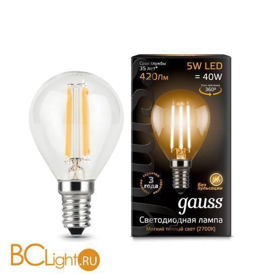 Лампа Gauss LED Filament Globe E14 5W 2700K 105801105