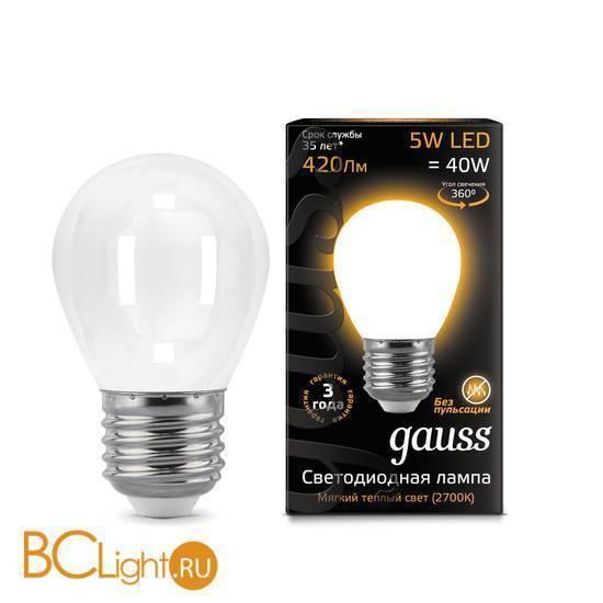 Лампа Gauss LED Filament Globe OPAL E27 5W 2700K 105202105