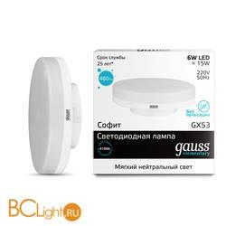 Лампа Gauss LED Elementary GX53 6W 460lm 4100K 83826
