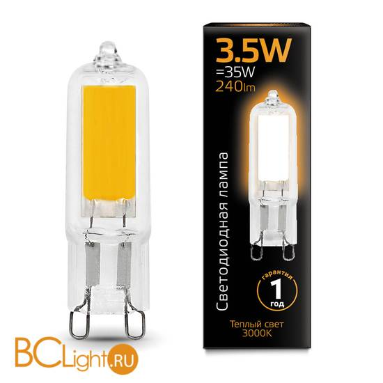 Лампа Gauss LED G9 AC220-240V 3.5W 240lm 3000K 107809103