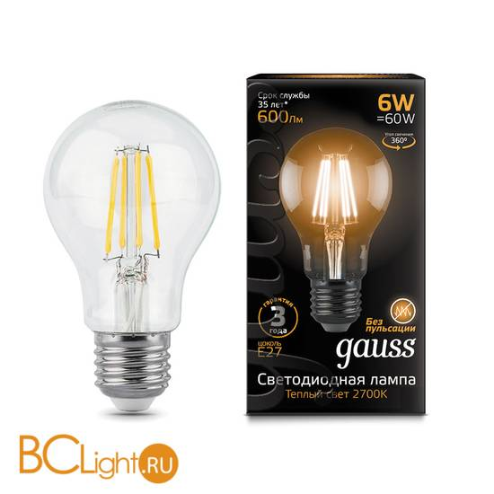 Лампа Gauss LED Filament A60 E27 6W 600lm 2700К 102802106