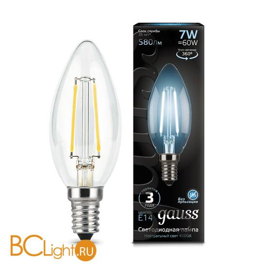 Лампа Gauss LED Filament Свеча E14 7W 580lm 4100К 103801207