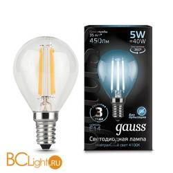 Лампа Gauss LED Filament Шар E14 5W 450lm 4100K 105801205