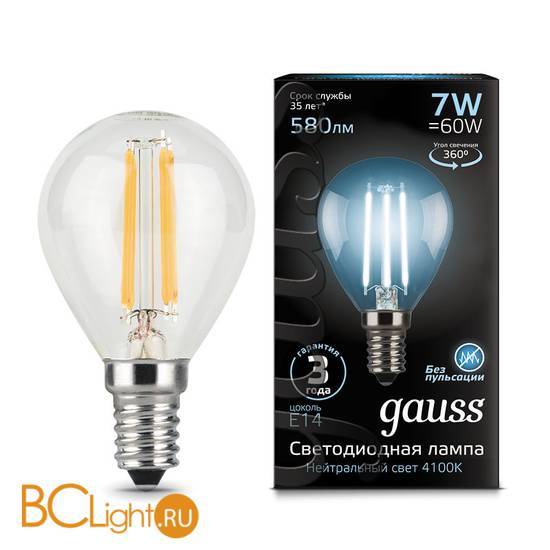Лампа Gauss LED Filament Шар E14 7W 580lm 4100K 105801207