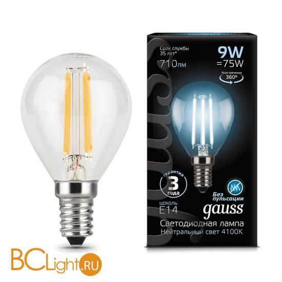 Лампа Gauss LED Filament Шар E14 9W 710lm 4100K 105801209
