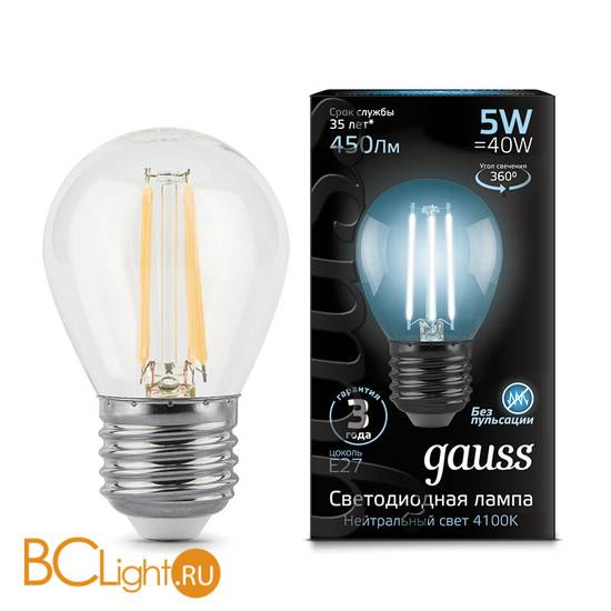 Лампа Gauss LED Filament Шар E27 5W 450lm 4100K 105802205