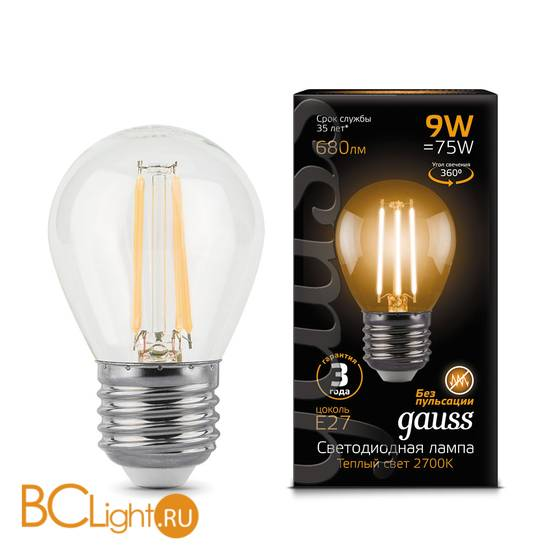 Лампа Gauss LED Filament Шар E27 9W 680lm 2700K 105802109
