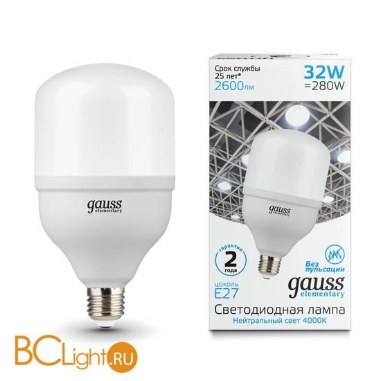 Лампа Gauss Elementary LED T100 E27 32W 2600lm 180-240V 4000K 63223