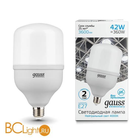 Лампа Gauss Elementary LED T120 E27 42W 3600lm 180-240V 4000K 63224