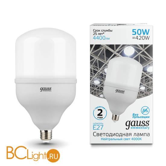Лампа Gauss Elementary LED T140 E27 50W 4400lm 180-240V 4000K 63225