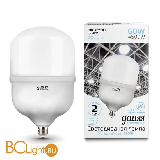 Лампа Gauss Elementary LED T160 E27 60W 5600lm 180-240V 6500K 63236