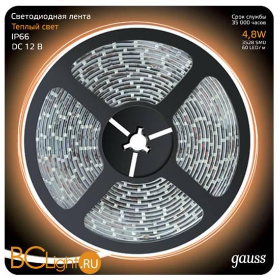 Лента LED Gauss 4.8W 12V DC 2700K IP66 311000105