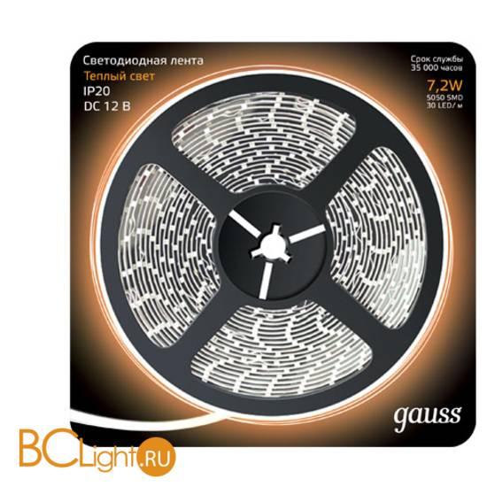 Лента LED Gauss 7.2W 12V DC 2700K IP66 311000107