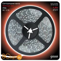 Лента LED Gauss 4.8W 12V DC красный IP66 311000705