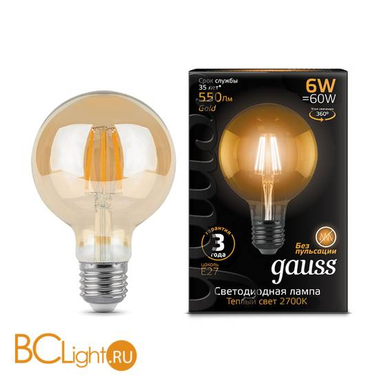 Лампа Gauss LED G95 E27 6W Golden 550lm 2400K 105802006