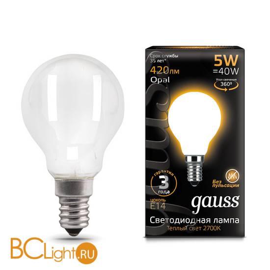 Лампа Gauss LED Шар OPAL E14 5W 420lm 2700K 105201105