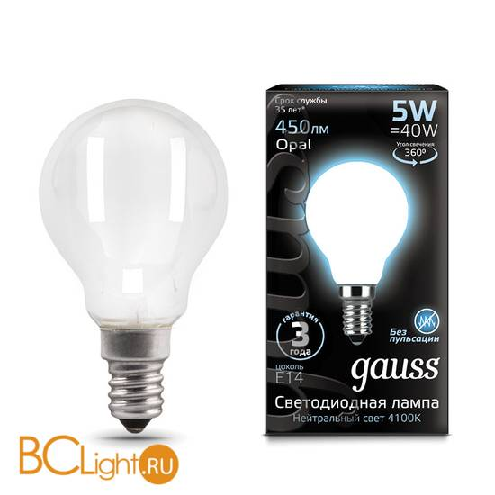 Лампа Gauss LED Шар OPAL E14 5W 450lm 4100K 105201205