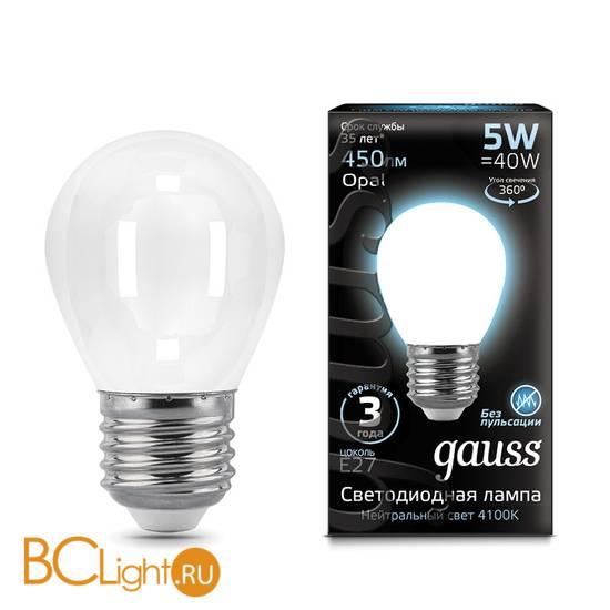Лампа Gauss LED Шар OPAL E27 5W 450lm 4100K 105202205