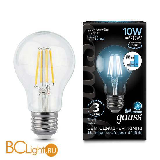 Лампа Gauss LED Filament A60 E27 10W 970lm 4100К 102802210-S