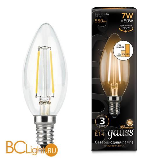 Лампа Gauss LED Filament Свеча E14 7W 550lm 2700К 103801107-S