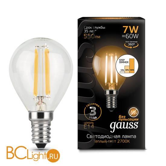 Лампа Gauss LED Filament Шар E14 7W 550lm 2700K 105801107-S
