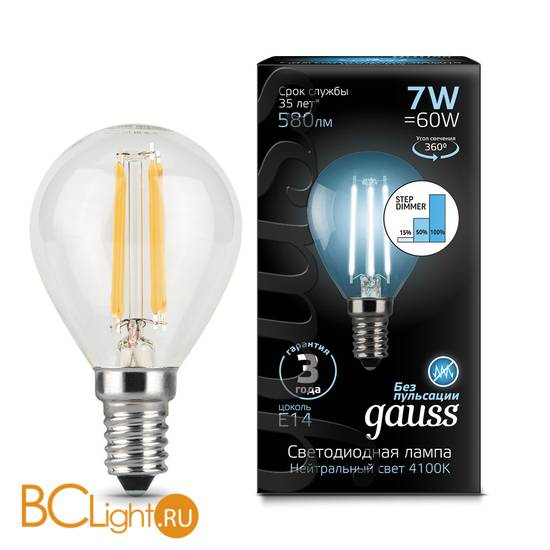 Лампа Gauss LED Filament Шар E14 7W 580lm 4100K 105801207-S