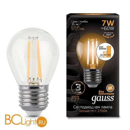 Лампа Gauss LED Filament Шар E27 7W 550lm 2700K 105802107-S