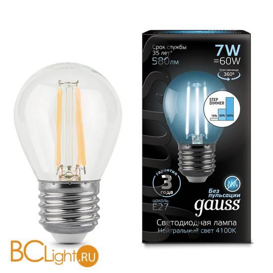 Лампа Gauss LED Filament Шар E27 7W 580lm 4100K 105802207-S