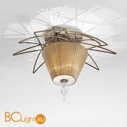 Потолочный светильник IDL Flame 524/3PF antique bronze+nickel brown organza