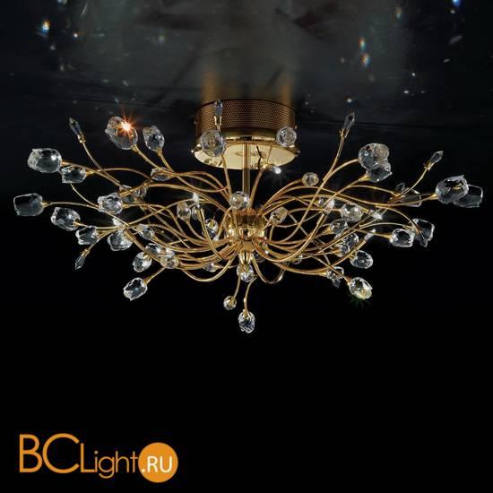 Потолочный светильник IDL Rosetta 324/10PF Gold Clear roses/Clear prisms