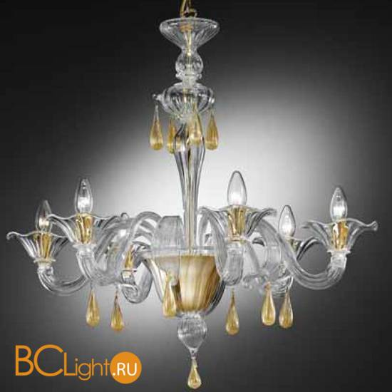 Люстра Vetri Lamp 1181/6 Cristallo/Oro 24 Kt.