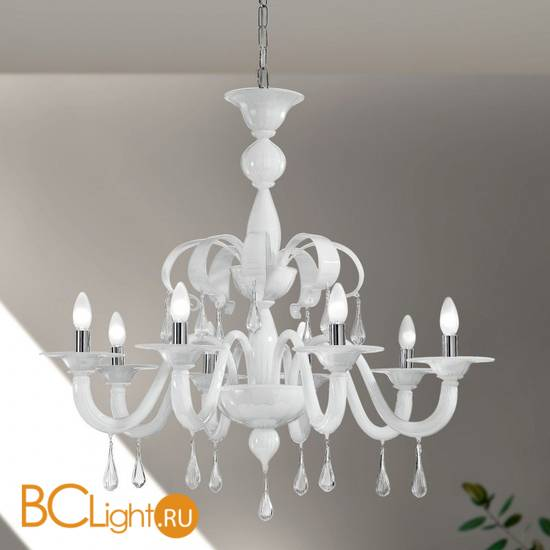 Люстра Vetri Lamp 1184/8 Bianco/Gocce cristallo