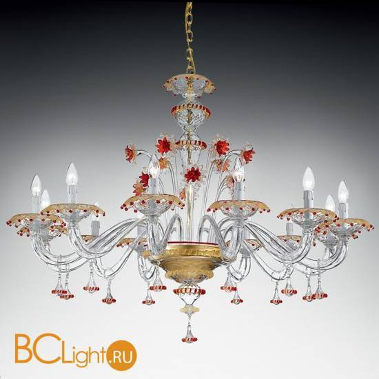 Люстра Vetri Lamp 922/12 Cristallo/Oro 24 Kt./Rosso